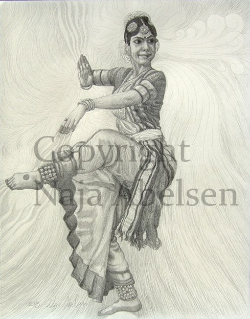 Indisk Gudedanser. ( meaning Indian Goddessdancer)  Think Indian dancers' movements and equipment are so beautiful and elegant, and the harmony they are moving with ...  Pencil, 28 x 36 cm, 2013.  15.000 DKK/ Euro: 2010. Also available as A3-photoprint 400 DKK / 54 Euro.