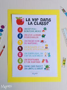 Voici les 7 petites règles de bases pour une vie harmonieuse en classe, regroupées dans un poster joliment illustré !