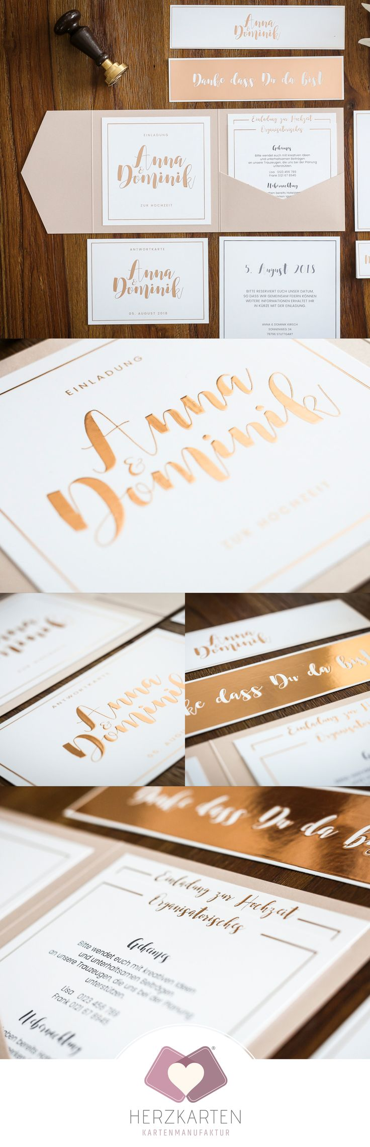 Handlettering & calligraphy stationery with hot foil stamping in gold, silver and rose gold