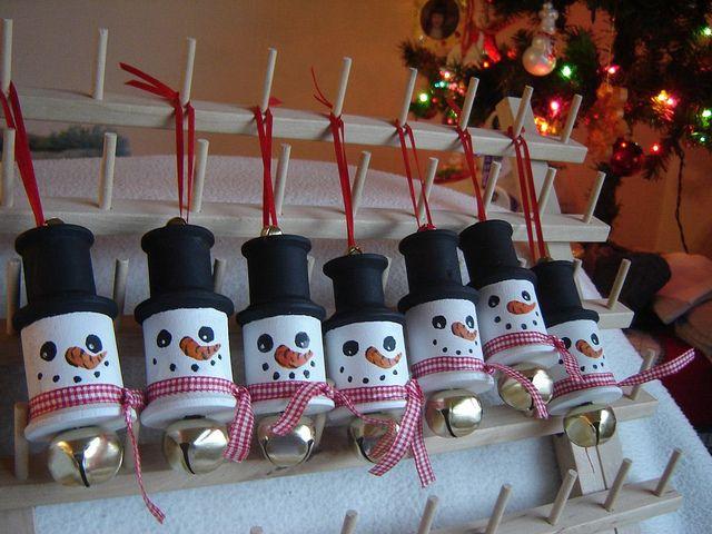 DSC00018 by keepapozatude, via Flickr Wooden spool snowmen ornaments!
