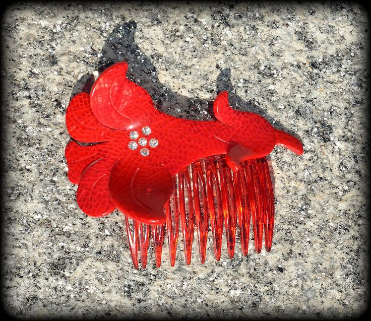 1950s Hair Comb ~ Vintage Red Celluloid&Rhinestone ~ Flower Hair Accessories ~ Plastic Decorative Hair Combs by CatsAndHatsVintage on Etsy