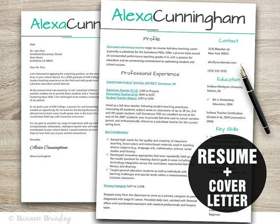 resume template teacher resume template resume cover letter template cv template instant download resume download - Cover Letter For Teacher Resume