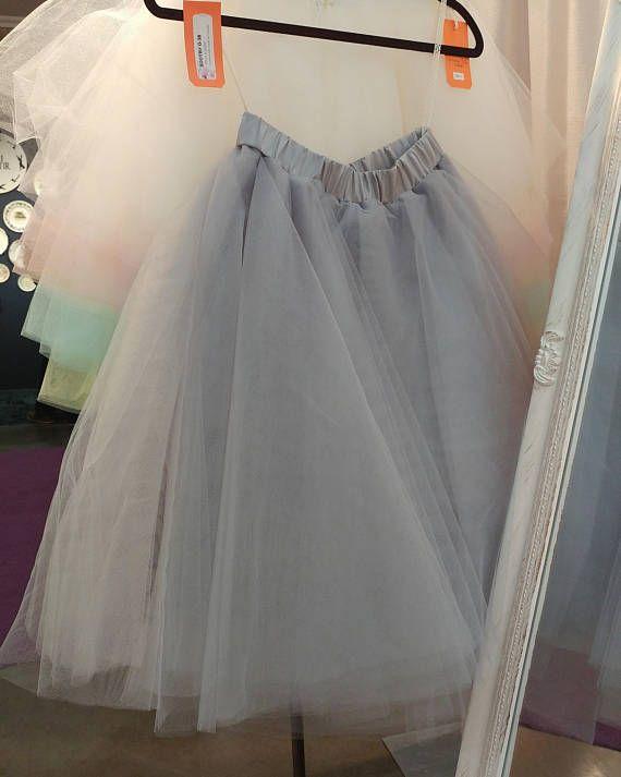 Grey color Girls tutu skirt Womens Tulle Skirt Wedding skirt
