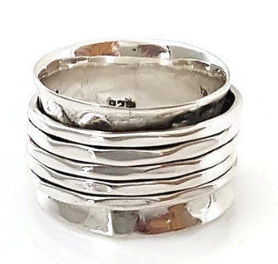Spinner Ring Sterlingsilber gehämmert 5 Ring klobige von MistryGems