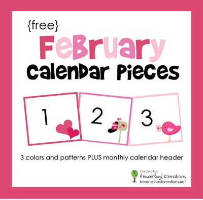 FREE pocket chart calendar pieces for the month of February. Includes 3 colors and patterns plus calendar header.