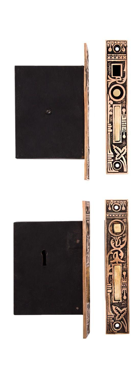 Broken Leaf Double Pocket Door Lock #0328 By Charleston Hardware Company.
