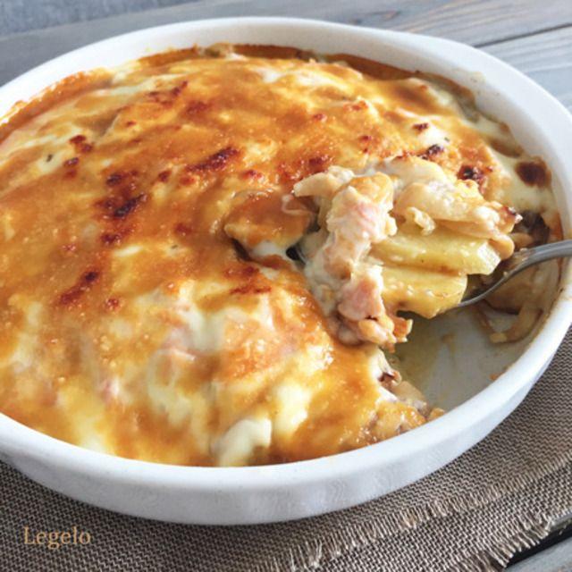 鮭とじゃがいものグラタン甘味噌ソース☆とろけるチーズなし♪ 鮭ひと切れで節約料理