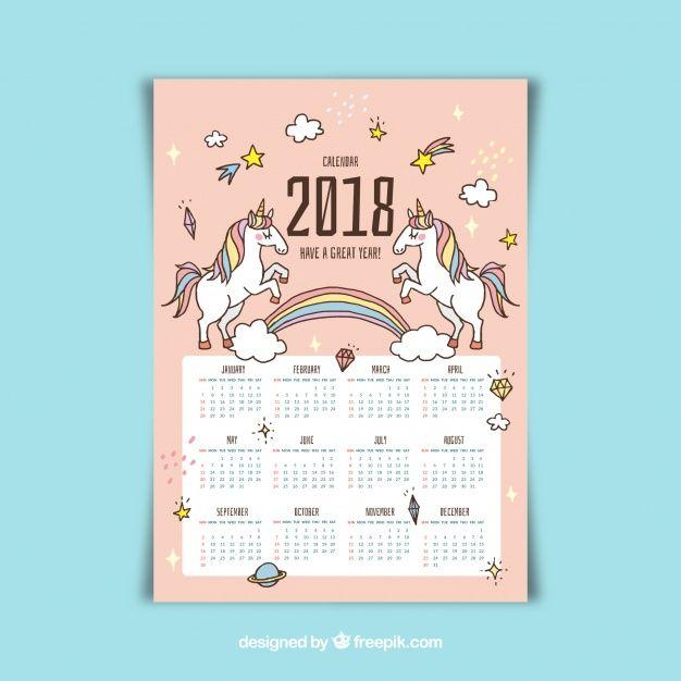 Bonito calendario 2018 con unicornios dibujados a mano Vector Gratis