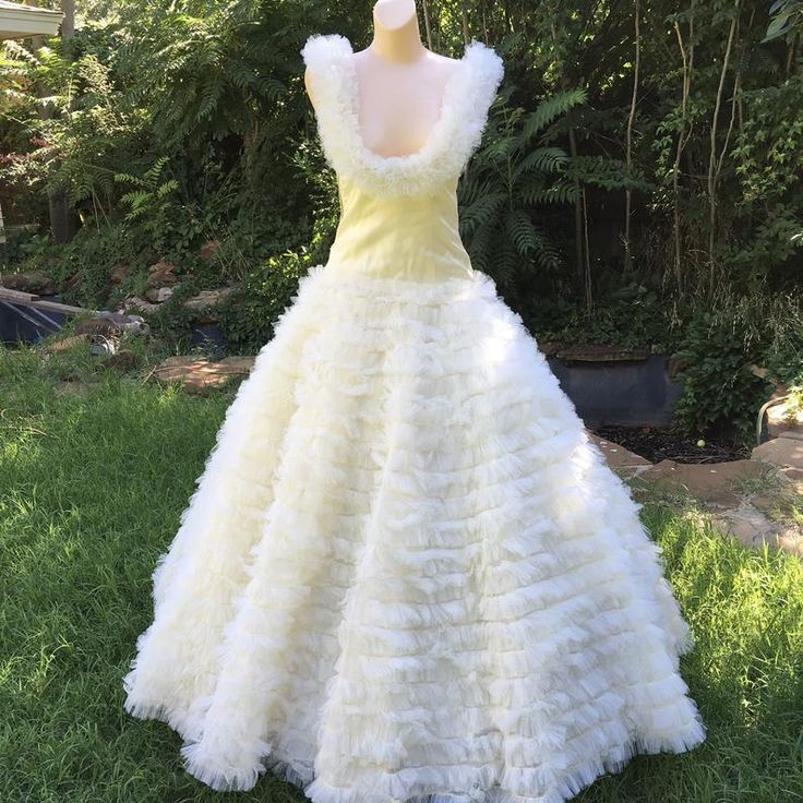 1950s Cupcake Gown, Ruffled Tiered Wedding Dress, Southern
