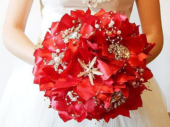 Red Brooch bouquet  fabric bouquet red bouquet bridal bouquet