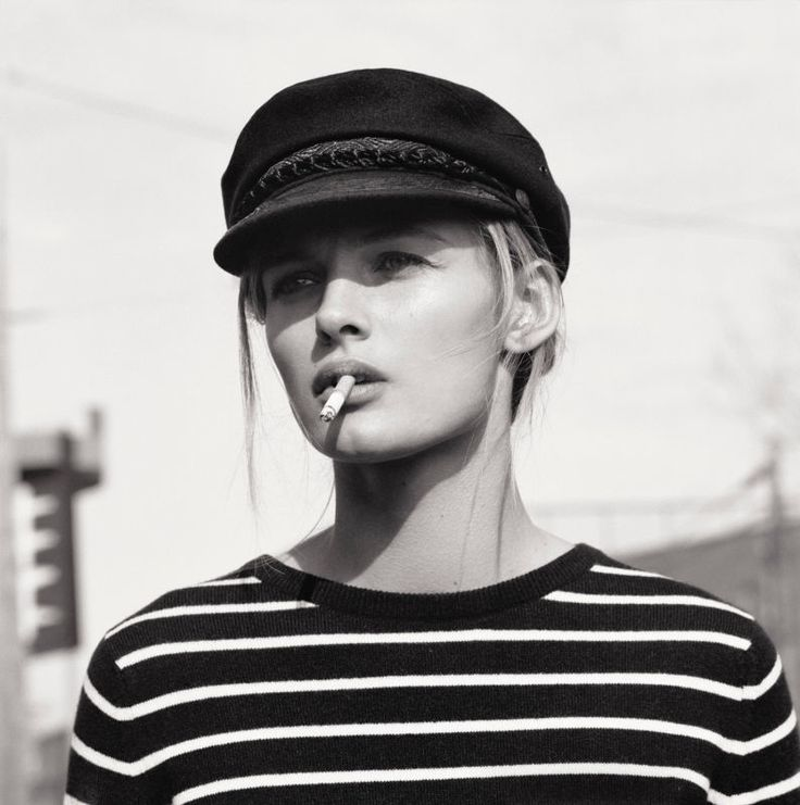Breton stripes + sailor cap + cigarette - Edita Vilkeviciute by Mark Peckmezian for Holiday Magazine