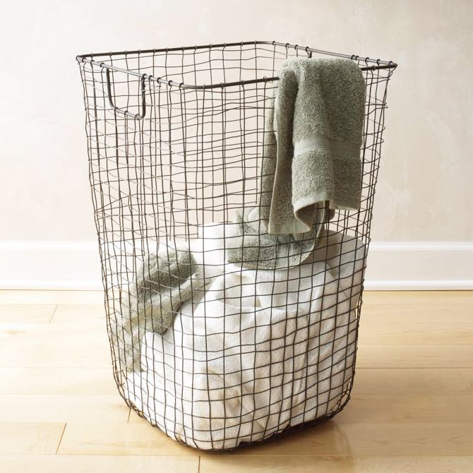 Clean Weave Hamper - Unique Modern Furniture - Dot & Bo -- easy to make, and use standard metal grating for a more uniform look, line with draw string sale cloth bags, and still hang the whole lot on the wall, upstairs. Take out bags for removing to basement.