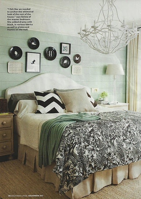 designed by seleta hayes howard.  luscious duvet from traceryinteriors.comWall Colors, Guest Room,  Comforters, Black And White, Black White, Colors Schemes, Master Bedrooms,  Puff, Bedrooms Ideas