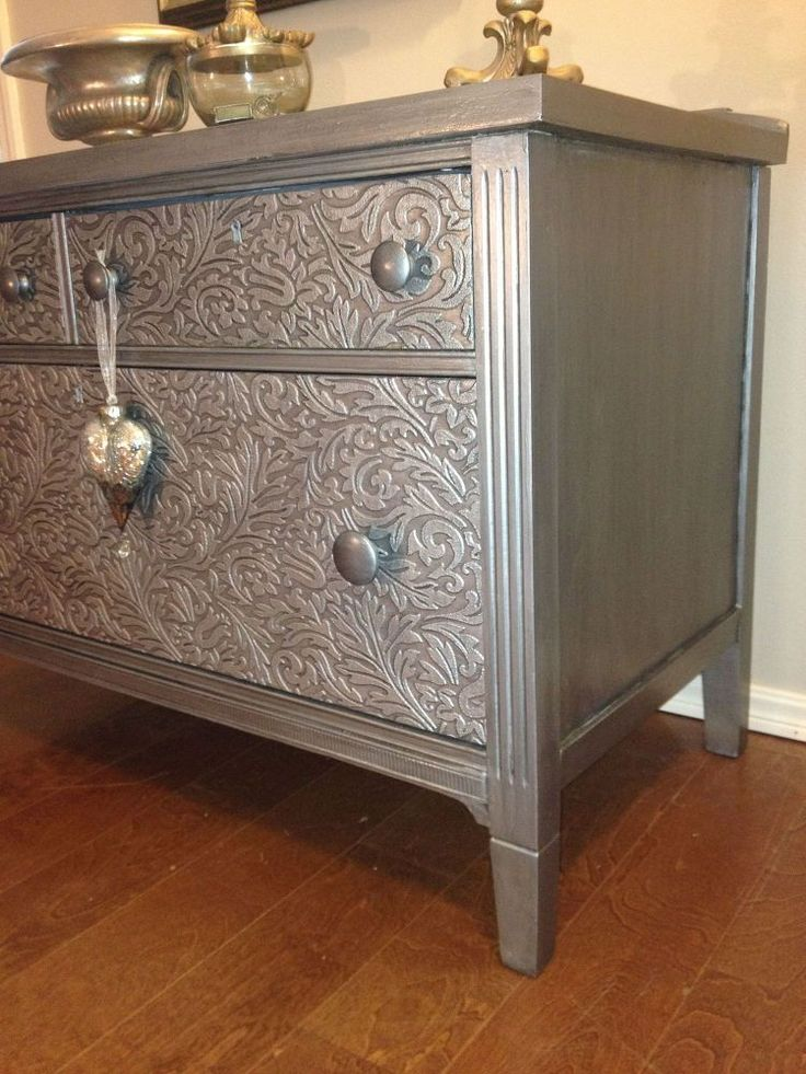 How+to+Remove+Old+Veneer+Before+and+After.+Metallic+Painted+Dresser,  A heavily used dresser may put dents into wallpaper around knobs, so I need to use knobs not so close to dresser for pulling open