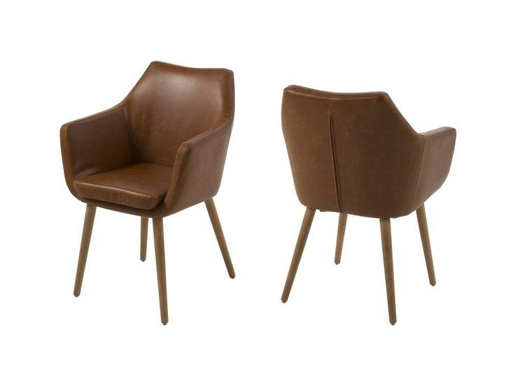 Krzesło Nora brązowe ekoskóra nogi drewniane — Krzesła Actona — sfmeble.pl