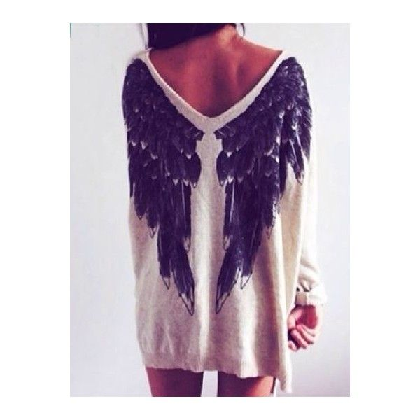 Choies White Angel Wings Print V Neck Loose Knitted Jumper ($20) ❤ liked on Polyvore featuring tops, sweaters, multi, loose white top, loose fit tops, v-neck tops, print sweater and loose tops