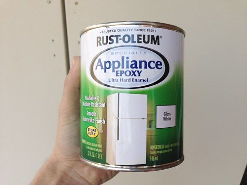 Appliance Paint - Rust-oleum Appliance Epoxy  - change up the color of your refrigerator from cream to white