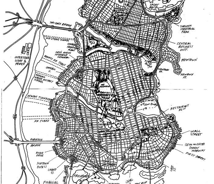 In 1998, artist Eliot R. Brown created a map of Gotham City for the Batman No Man's Land series. Brown describes the process of making the map, meant to look something like Manhattan with a lot more villains and a way for the federal government to blast the bridges and tunnels to the outside world.