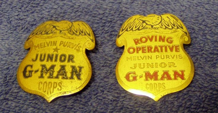 "TWO DIFFERENT VINTAGE ""MELVIN PURVIS JUNIOR G-MAN"" TIN BADGES"