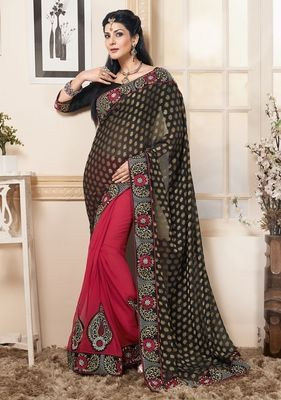 Red black embroidered chiffon saree with blouse