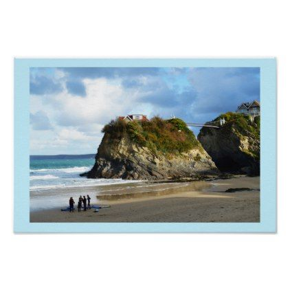 Newquay beach in Cornwall Poster - Xmas ChristmasEve Christmas Eve Christmas merry xmas family kids gifts holidays Santa