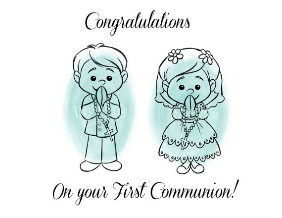 First Communion Girl and Boy Cookie Design by DrawnwithCharacter
