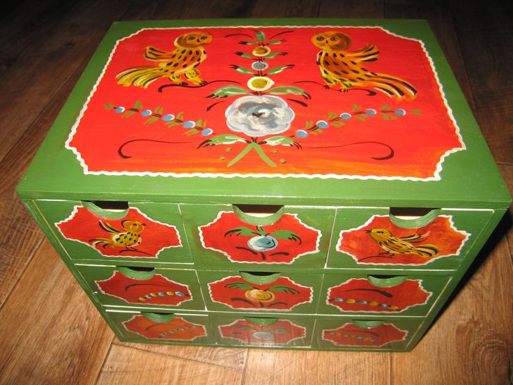Wooden painted chest, dressing, commode, cabinet, nest of drawers, Russian ethnic boho style Borok painting by RussianStore on Etsy
