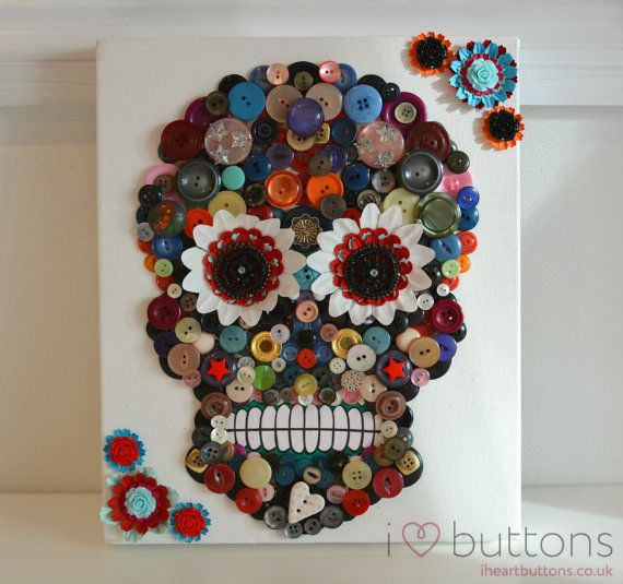 Button Art Canvas Day of the Dead Skull Roses