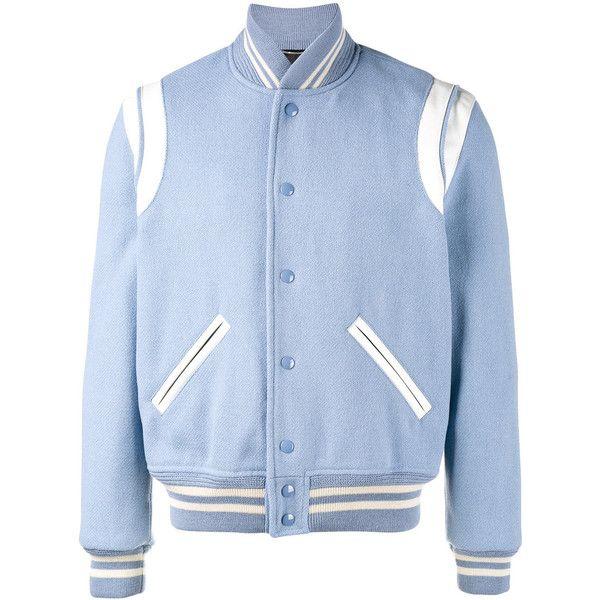 Saint Laurent Saint Laurent Varsity Jacket (7.500 BRL) ❤ liked on Polyvore featuring men's fashion, men's clothing, men's outerwear, men's jackets, outerwear, blue, mens leather jackets, mens blue leather jacket and mens blue jacket