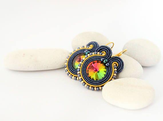 Blue yellow earrings rainbow crystal earrings colorful drop
