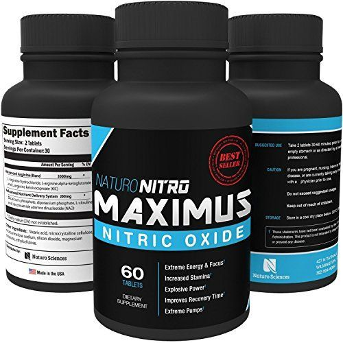 Maximus Nitric Oxide Tablets, High Potency NO Booster and L-arginine Supplement - Allows You to Build Muscle Faster, Workout and Train Longer and Harder, 60 Tablets * For more information, visit image link.