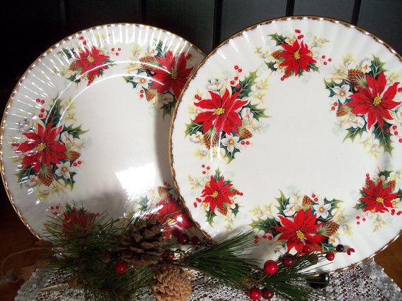Royal Albert Yuletide dinner plates set of by YorkshireTeaCupShop