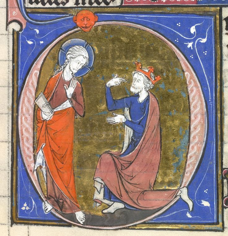 """Christ and David"", Yates Thompson 18, f. 52 by ""The Ste.-Chapelle group; and the Guines atelier (for the line-fillers and marginalia)"", France ca. 13th century via The British Library, Public Domain"