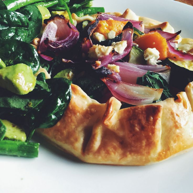 Vegetable Free-Form Pie. A delicious way to have baked vegies, and so good with goat feta. Week 7 #iqs8wp #iqs #iquitsugar #iqsjerf #vegetarian