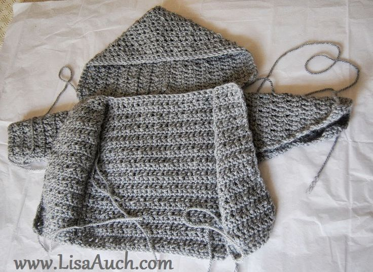 Free Crochet Pattern for Boys Hooded Sweater button front Cardigan