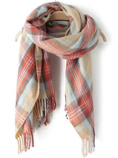 Multicolor Plaid Fringe Scarve