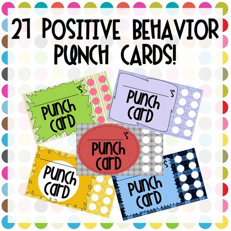 STANDARD 8: Democracy, Educational Governance and Careers in Teaching    8.2 Model, and develop on the part of the students, positive behavior and respect for  the rights of others, and those moral standards necessary for personal,  family and community well-being.    Positive Behavior Punch Cards (TPT)