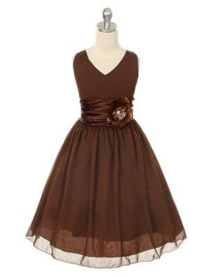 Brown V-Neckline Chiffon Flower Girl Dress