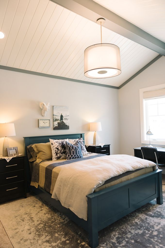 House of Turquoise: Dream Home Tour -  Boy's Bedroom - Gray Screen SW 7071 Sherwin-Williams Boy's Beam & Band - Software SW7074 Sherwin-Williams