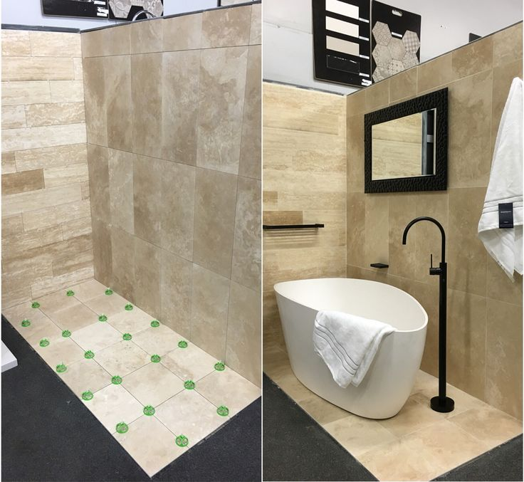 On January 8 we shared the beginning of a new display room with honed and filled travertine with a new travertine plank feature wall.   As promised here is the room before & after giving the touch of #luxury with Matte Black tapware & accessories from @phoenixtapware , #classy Tranquil #freestandingbath from ADP, #elegant Pompeii mirror from Thermogroup and Sheridan towels to finalise the room #travertine  #elegance #luxurious