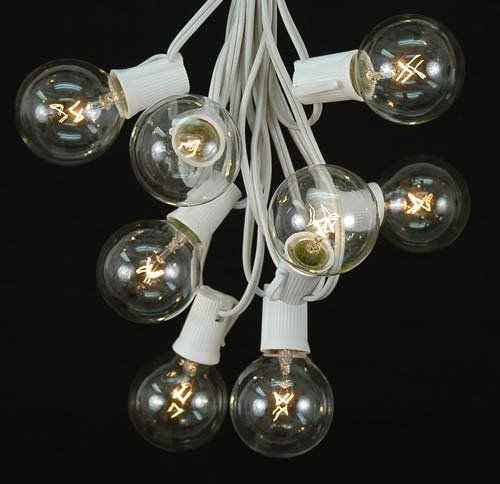 novelty lights inc g50 100 ww cl globe outdoor patio party string light set clear. Black Bedroom Furniture Sets. Home Design Ideas