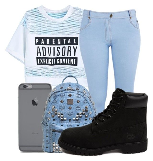 """""""Baby blue"""" by kenziesg ❤ liked on Polyvore featuring moda, Influence, MCM ve Timberland"""