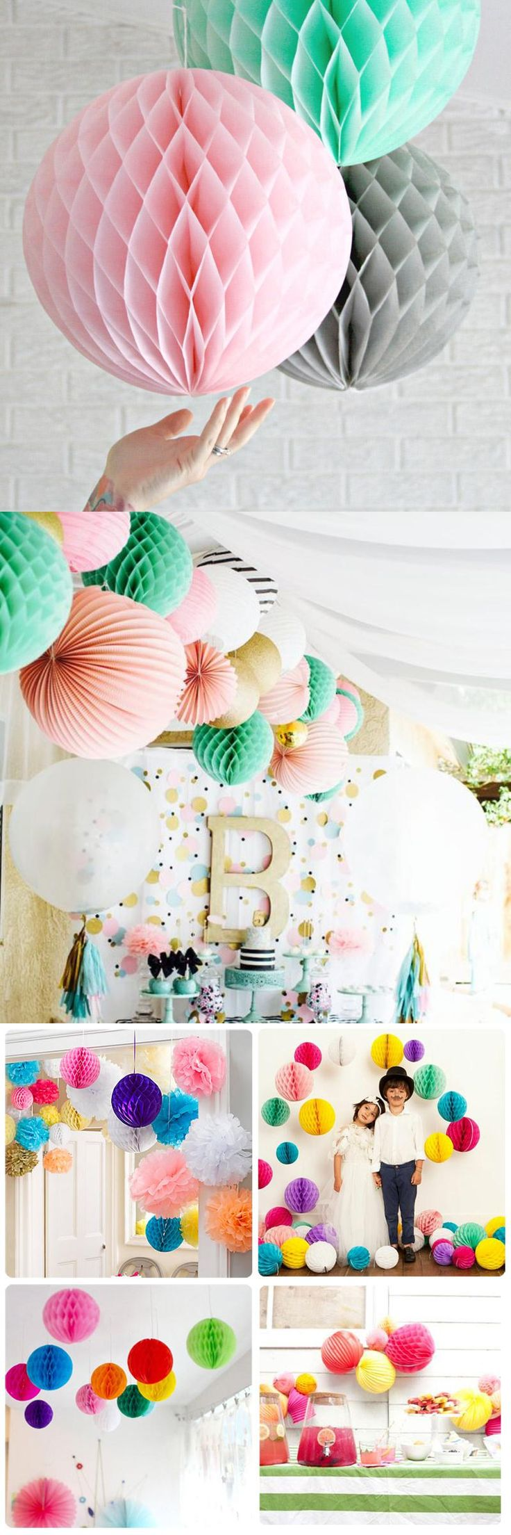 2 Pcs Mix Colors Tissue Paper Lantern Honeycomb Ball Flower For Home  Wedding Birthday Party Baby