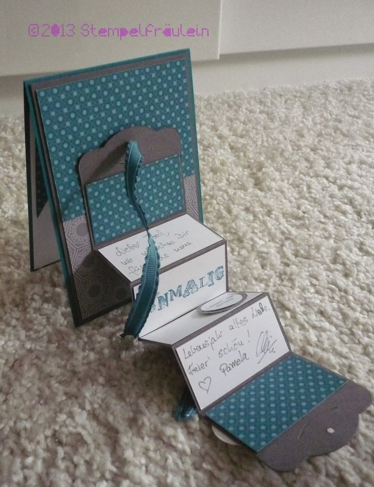Tattaaa, the opened Accordeon Fold Birthday card. Love those special effects ;) Check http://stempelfraeulein.blogspot.com/2013/09/besondere-karte-zum-ehrentag-die.html for Tutorial