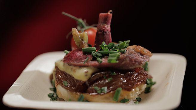 Shallot Tarte Tatin with Crispy Skin Duck, Mustard Crème Fraîche and Vegetables