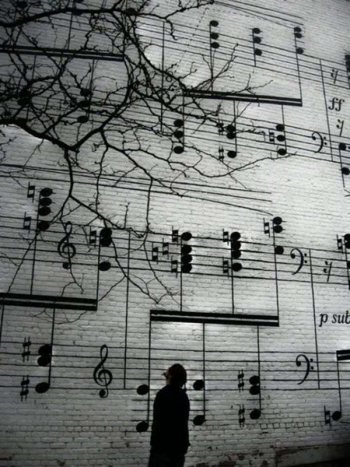 Paint notes for Grieg - Trolltog on a wall