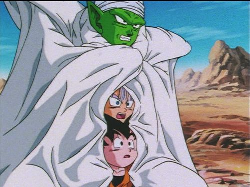 Piccolo, Trunks, and Goten - Dragon Ball Z. Party time in Piccolo's cape!