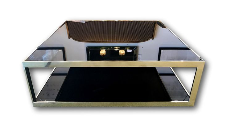 1970's Milo Baughman Chrome & black glass Coffee table
