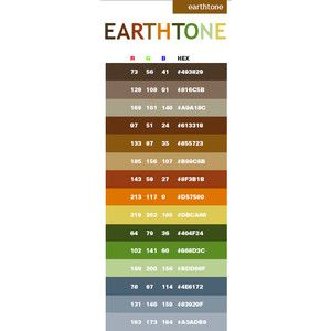 Earth Tone Color Schemes Combinations Palettes For Print CMYK And