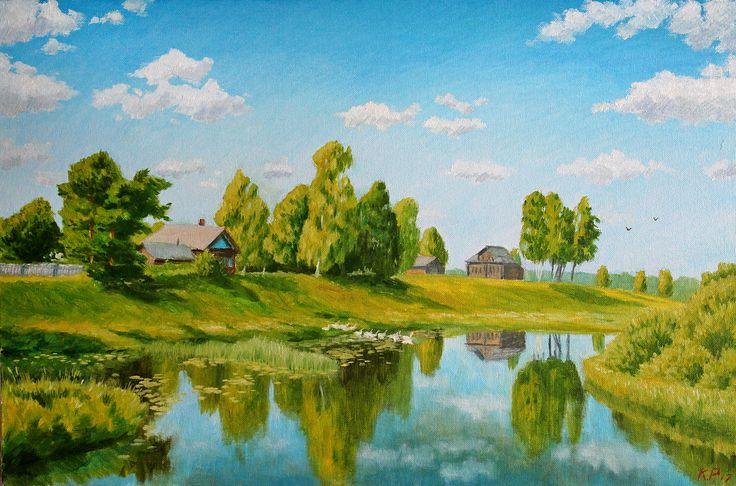 🌿 На берегу реки 🌿   (Холст-картон, масло. Размеры 40*60) Прекрасная пора лета в деревне, вдали купаются гуси, река течет гладко и спокойно, солнце пригревает...